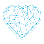 Darlings Faces logo - a heart shape made of blue intersecting lines